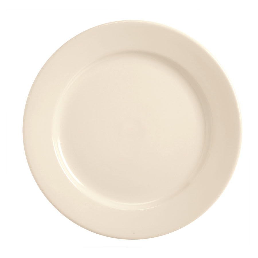 World Tableware BWR-31-CW Cream White Rolled Edge Plate, Tenacity, Round
