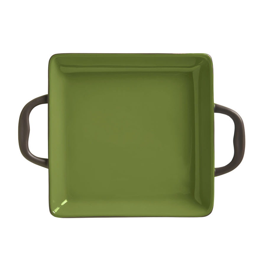 World Tableware CBO-001 3 1/2 oz Coos Bay Square Tray with Handles - Ceramic, Olive
