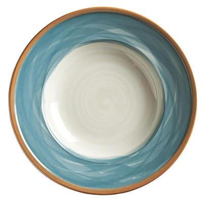 "World Tableware CCB-10235 9"" Round Plate - Ceramic, Blue, Terra Cotta Rim"