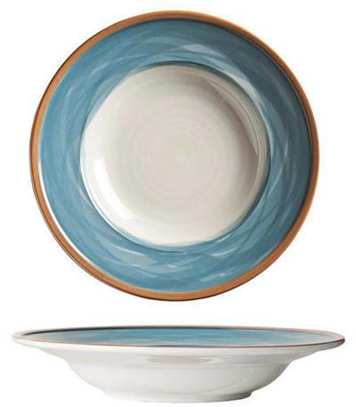 """World Tableware CCB-10310 12-1/2""""  Pasta Bowl - Ceramic, Blue, Terra Cotta Rim, 22 oz"""