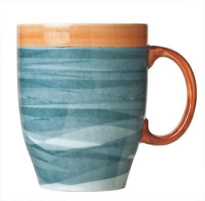 "World Tableware CCB-30380 13-1/4 oz Mug - Ceramic, Blue, Terra Cotta Rim, 4-3/8"""