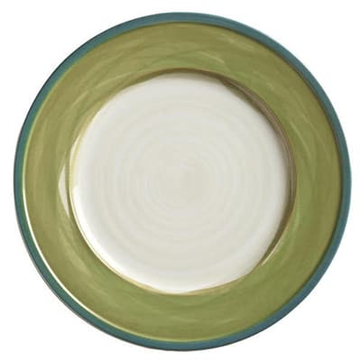 "World Tableware CCG-10235 9"" Round Plate - Ceramic, Green, Blue Rim"