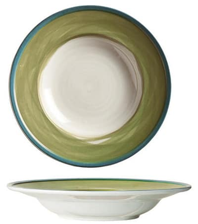 "World Tableware CCG-10310 12-1/4"" Pasta Bowl - Ceramic, Green, Blue Rim"