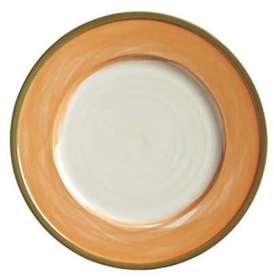 "World Tableware CCT-10235 9"" Round Plate - Ceramic, Terra Cotta, Green Rim"