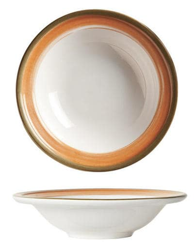 "World Tableware CCT-20125 5-1/8""  Fruit Bowl - Ceramic, Terra Cotta, Green Rim, 3-3/4 oz"