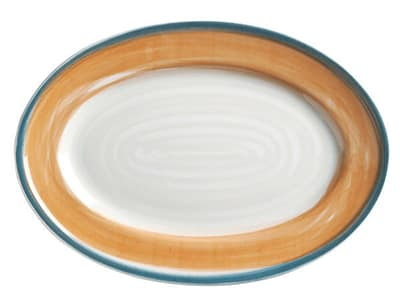 "World Tableware CCT-50310 Oval Platter - Ceramic, Terra Cotta, Blue Rim, 12-1/8"" by 8-3/4"""