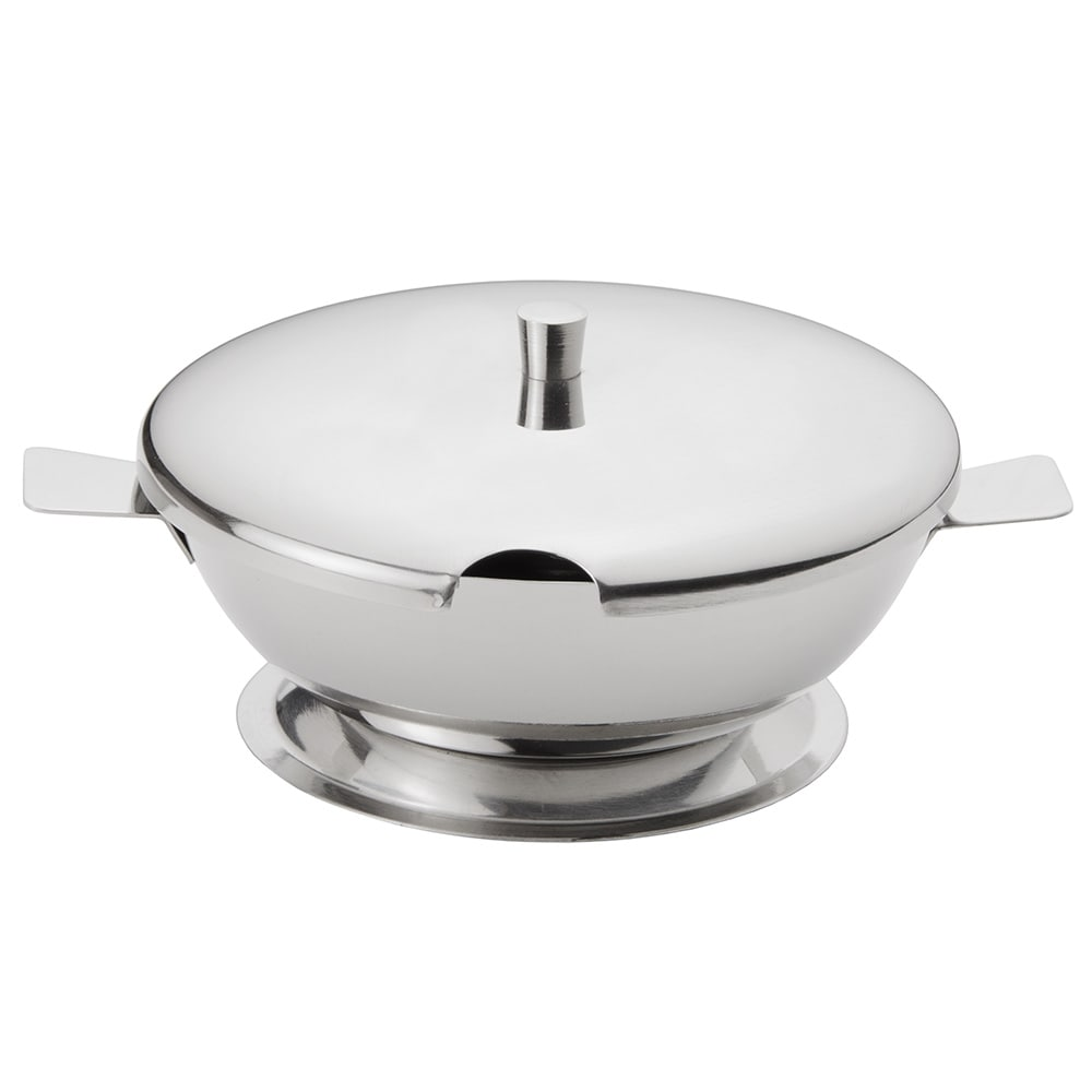 "World Tableware CHS-100 4.12"" Round Cheese Server w/ 10 oz Capacity & Lid, 18/8 Stainless"
