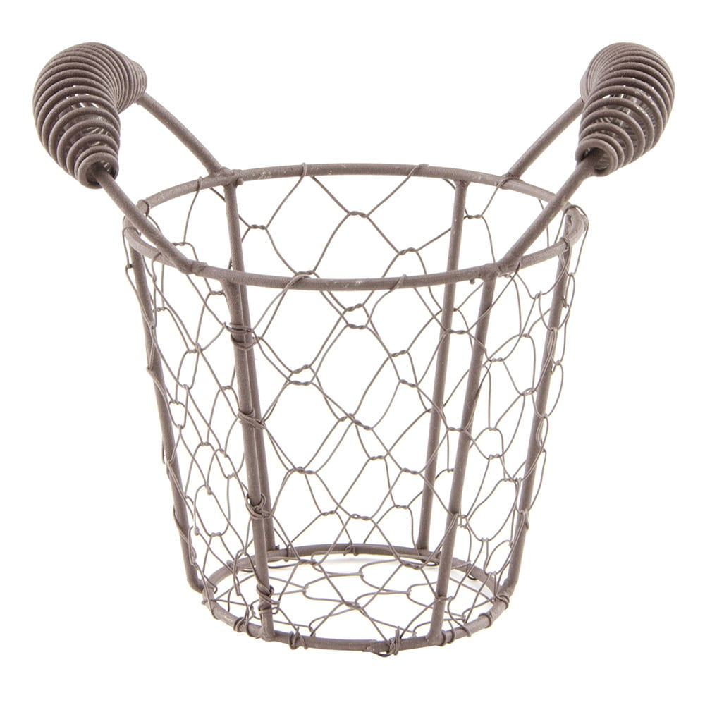 "World Tableware CWB-10 4-3/8"" Round Wire Basket/Pail - Brown"