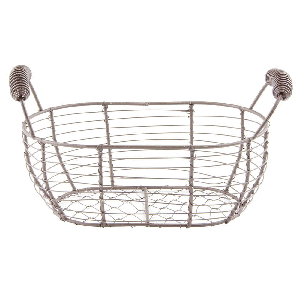 "World Tableware CWB-15 Oval Wire Bread Basket with Handles - 11-1/2x6-1/4"" Brown"