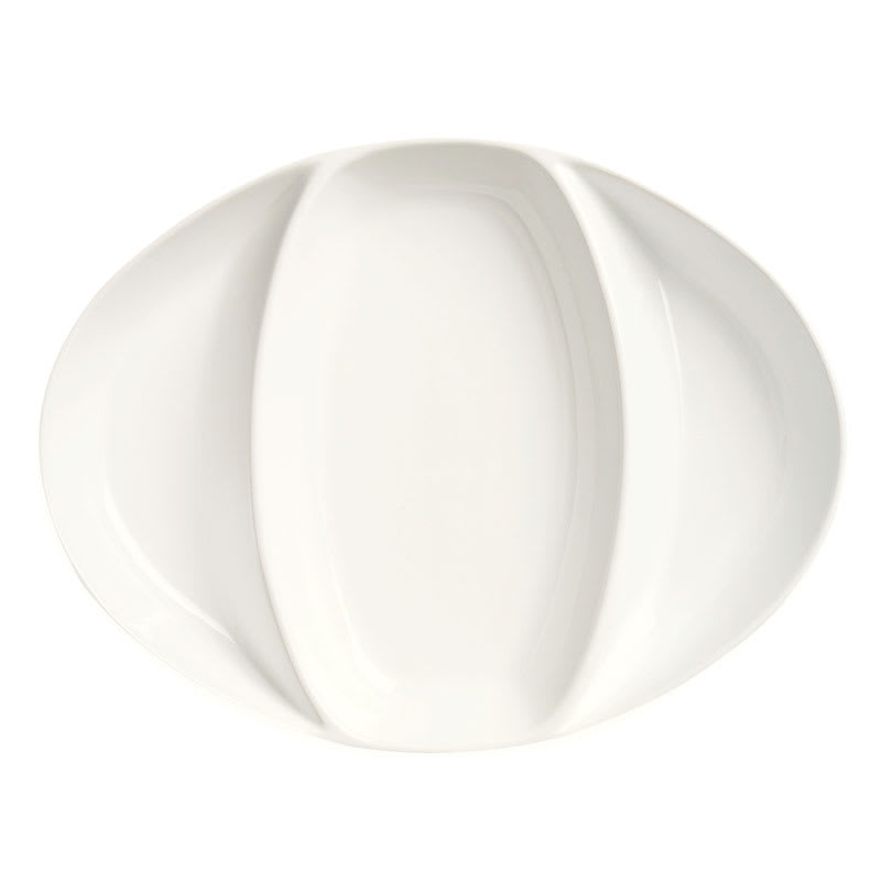 World Tableware DP-11 3-Compartment Oval Divided Platter, Porcelain, Bright White, Chef's Selection