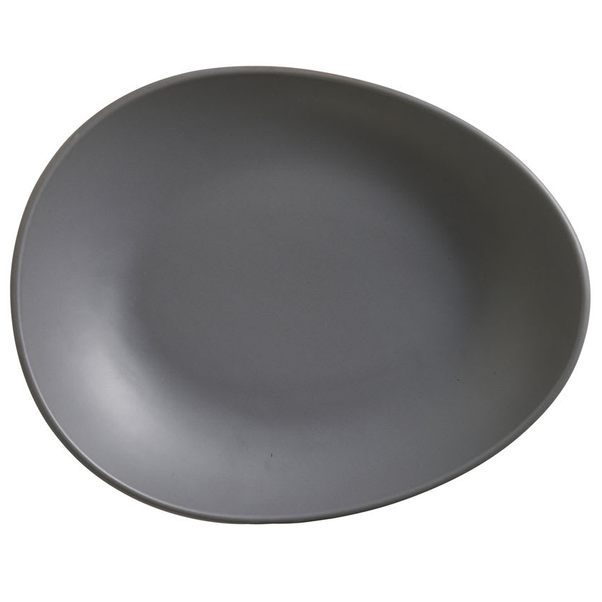 "World Tableware DRI-7-G Organic-Shaped Driftstone Plate - 10.88"" x 8.5"", Porcelain, Granite"