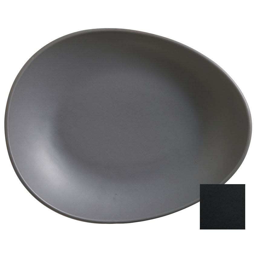 "World Tableware DRI-7-O Organic-Shaped Driftstone Plate - 10.88"" x 8.5"", Porcelain, Onyx"