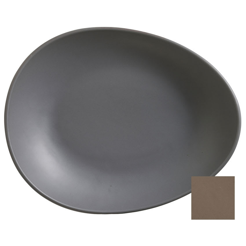 "World Tableware DRI-7-S Organic-Shaped Driftstone Plate - 10.88"" x 8.5"", Porcelain, Sand"