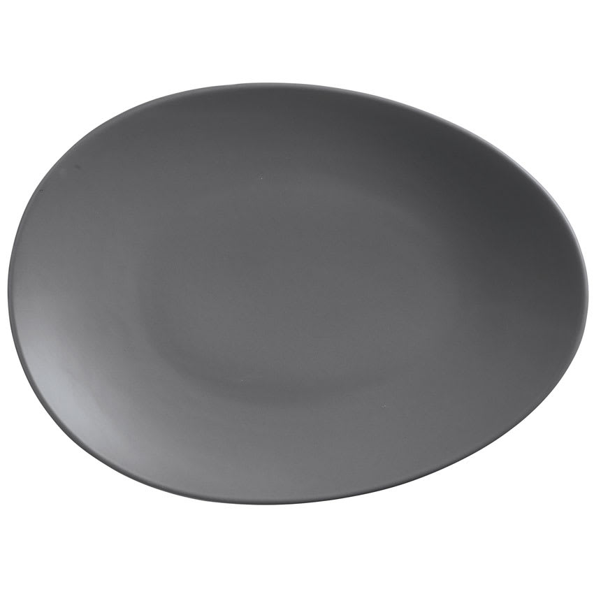 "World Tableware DRI-8-G Organic-Shaped Driftstone Plate - 13.75"" x 10.13"", Porcelain, Granite"