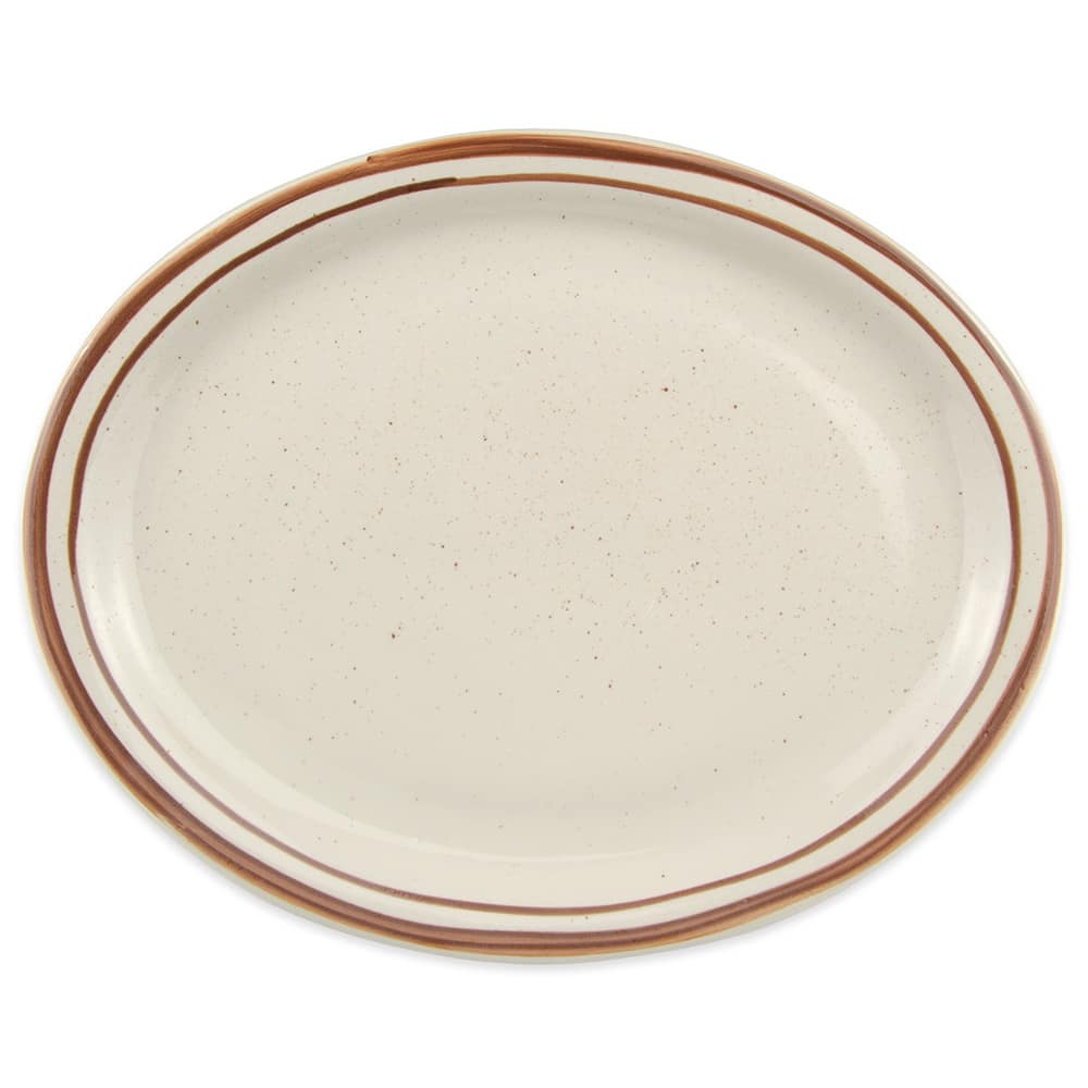 World Tableware DSD-13 Desert Sand Platter - Speckled, (2) Brown Bands