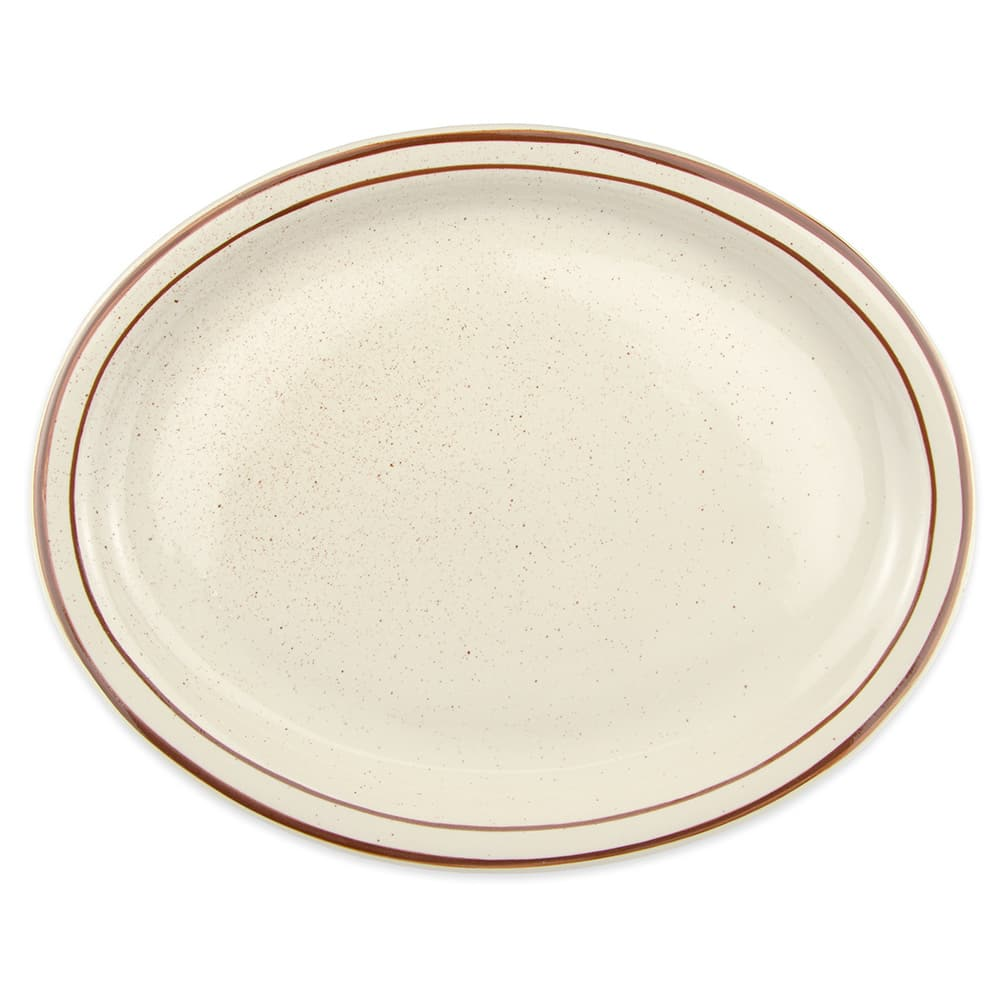 World Tableware DSD-14 Desert Sand Platter - Speckled, (2) Brown Bands