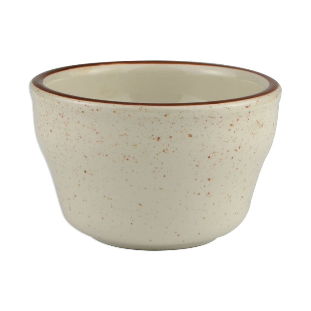 "World Tableware DSD-4 3.875"" Desert Sand Bouillon Cup - Speckled, (1) Brown Bands"
