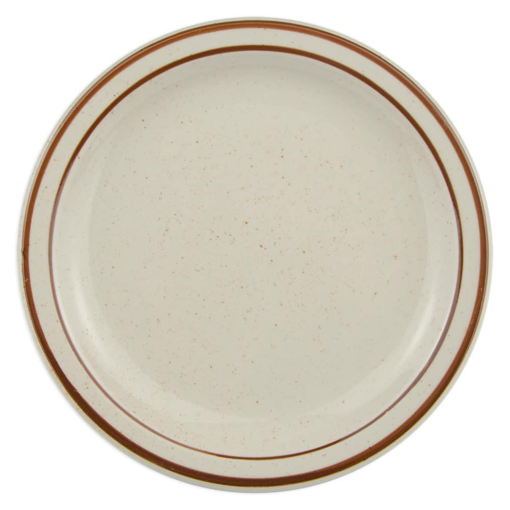 "World Tableware DSD-7 7.25"" Desert Sand Plate - Speckled, (2) Brown Bands"