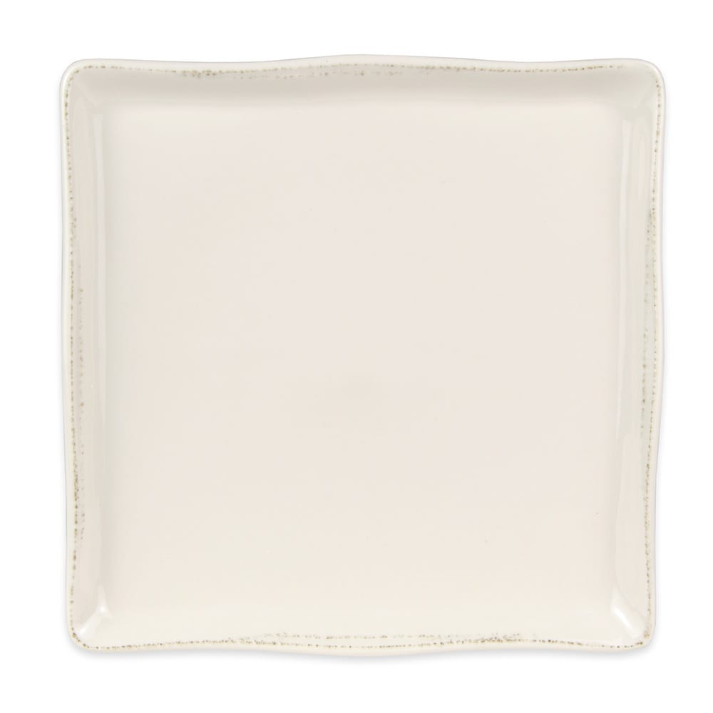 "World Tableware FH-1010 Farmhouse 10"" Square Tray - Porcelain, Cream White"