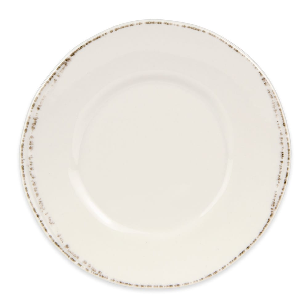 "World Tableware FH-500 6 3/8"" Round Plate - Ceramic, Cream White, Wide Rim"