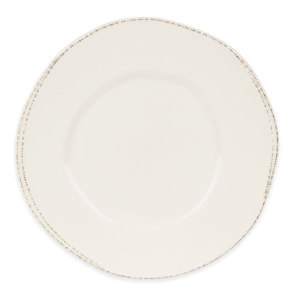 "World Tableware FH-503 10 1/2"" Round Plate - Ceramic, Cream White, Wide Rim"