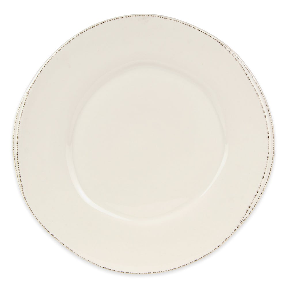 "World Tableware FH-504 12"" Round Plate -  Wide Rim, Cream White, Ceramic"