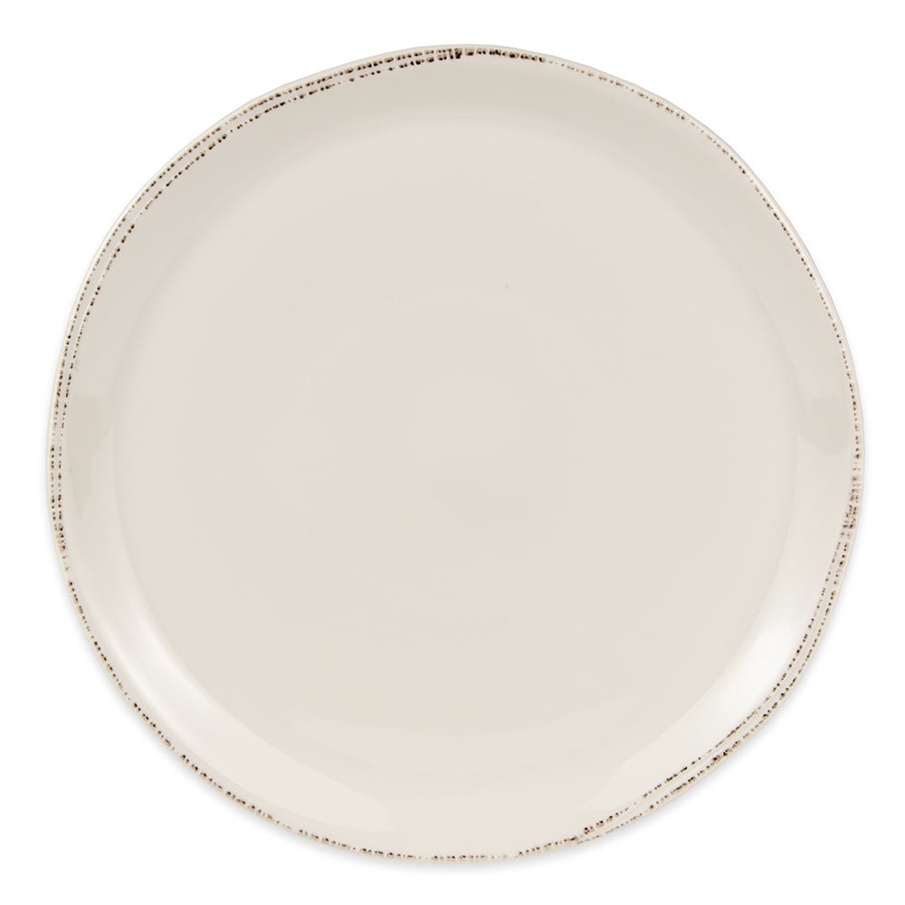 "World Tableware FH-527 13 1/2"" Farmhouse Round Pizza Plate - Porcelain, Ultra Bright White"