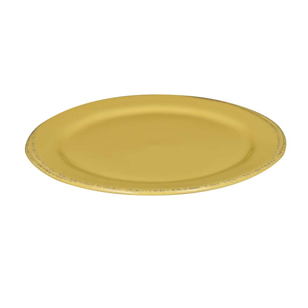 """World Tableware FH-602B 9"""" Round Farmhouse Plate - Porcelain, Butter Yellow"""