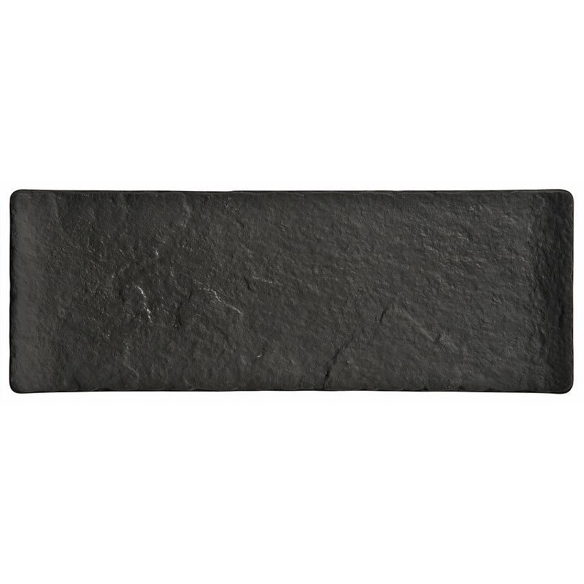 "World Tableware FS-26 Rectangular Ceramic Tray - 13x5-1/2"" Black"