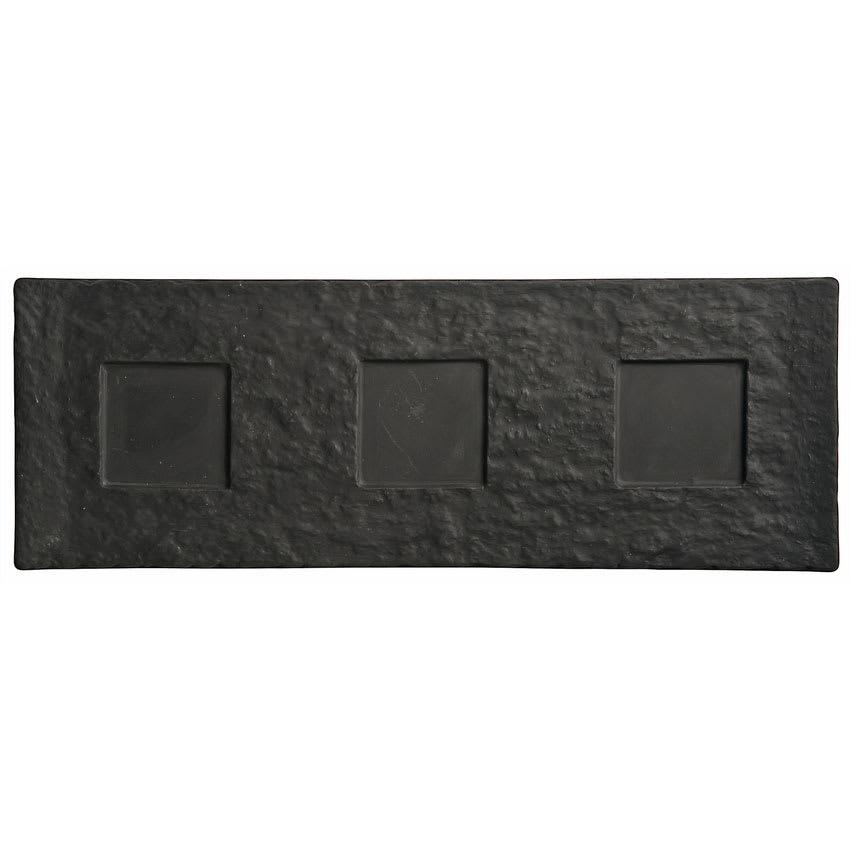 "World Tableware FS-27 Rectangular Ceramic Tray - 16 1/2x6"" Black"