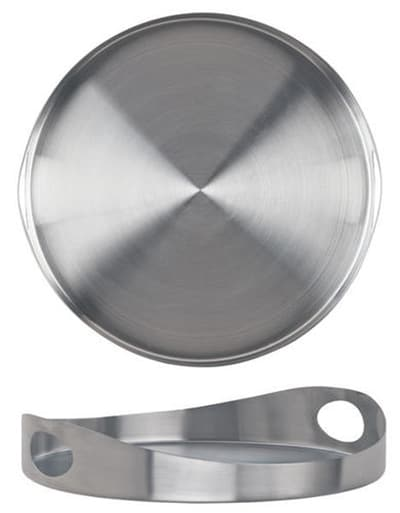 """World Tableware HT-12 12"""" Round Tray with Handles - Stainless"""