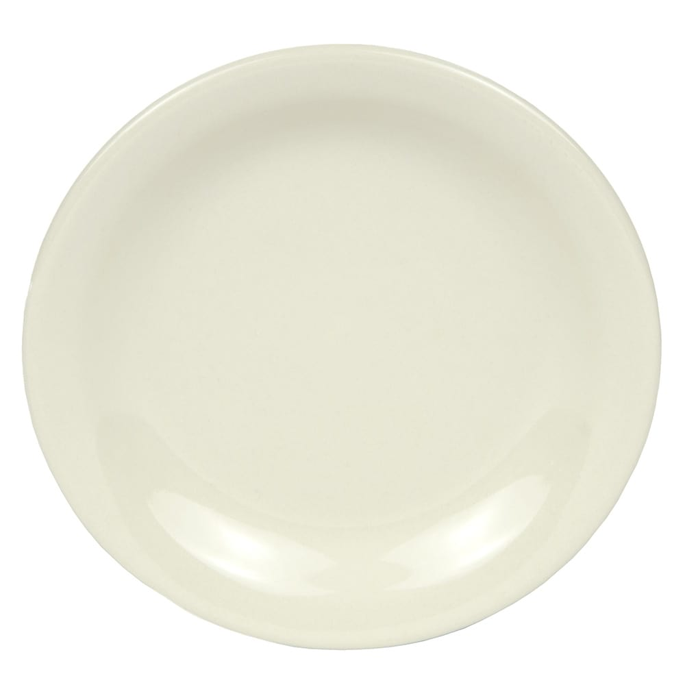 World Tableware NR-6 Cream White Narrow Rim Plate, Kingsmen White, Round