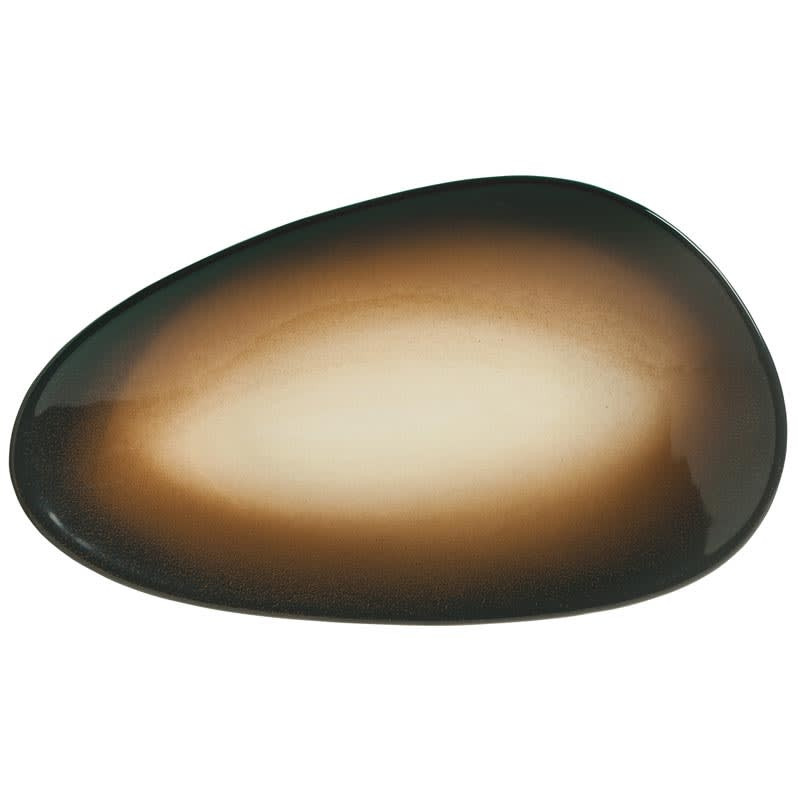 "World Tableware PEB-9-O Organic-Shaped Pebblebrook Tray - 13.5"" x 7.5"", Porcelain, Obsidian"