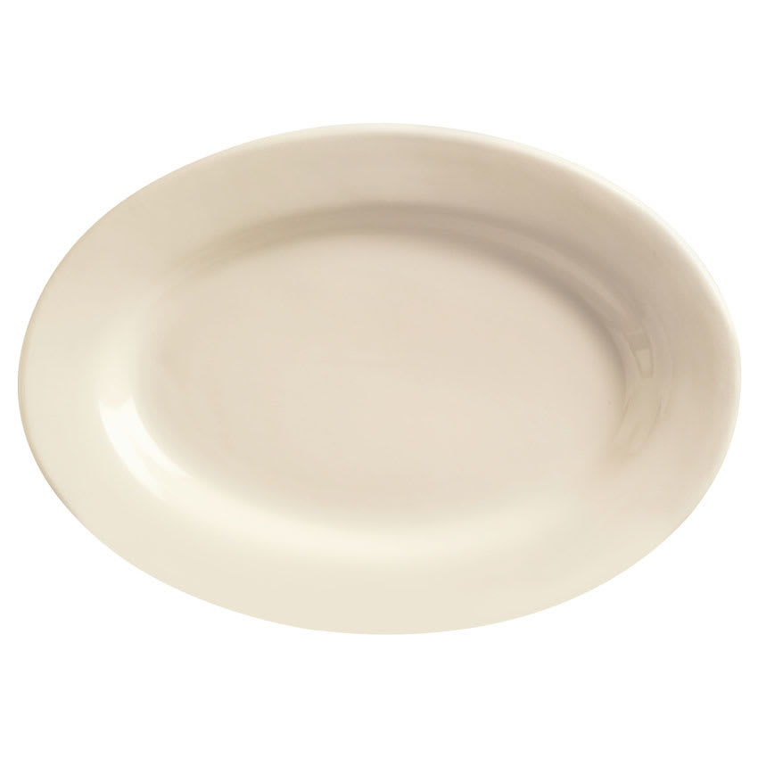 World Tableware PWC-34 Cream White Rolled Edge Platter, Princess White, Oval