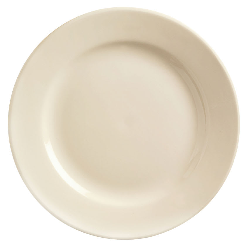 World Tableware PWC-6 Cream White Rolled Edge Plate, Princess White, Round