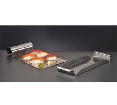 """World Tableware RRT-5 11.25"""" Rectangular Tray w/ Rolled Handle - Stainless"""