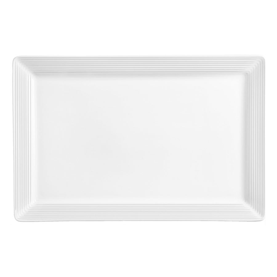 "World Tableware SL-22S Rectangular Slate Select Platter - 16"" x 5.5"", Porcelain, Ultra Bright White"