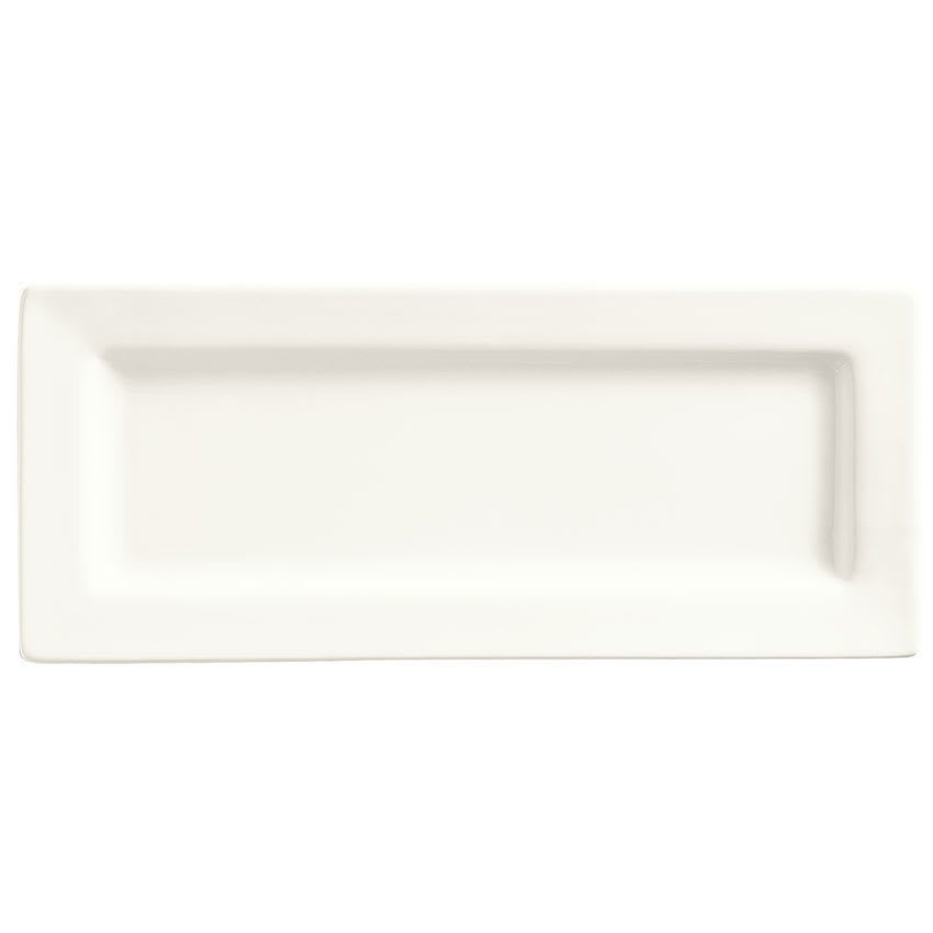 "World Tableware SL-24 Rectangular Porcelain Plate, 10.5x4.37"", Bright White, Slate"