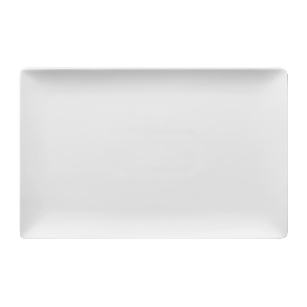 "World Tableware SL-26C Rectangular Slate Coupe Platter - 12.25"" x 8"", Porcelain, Ultra Bright White"