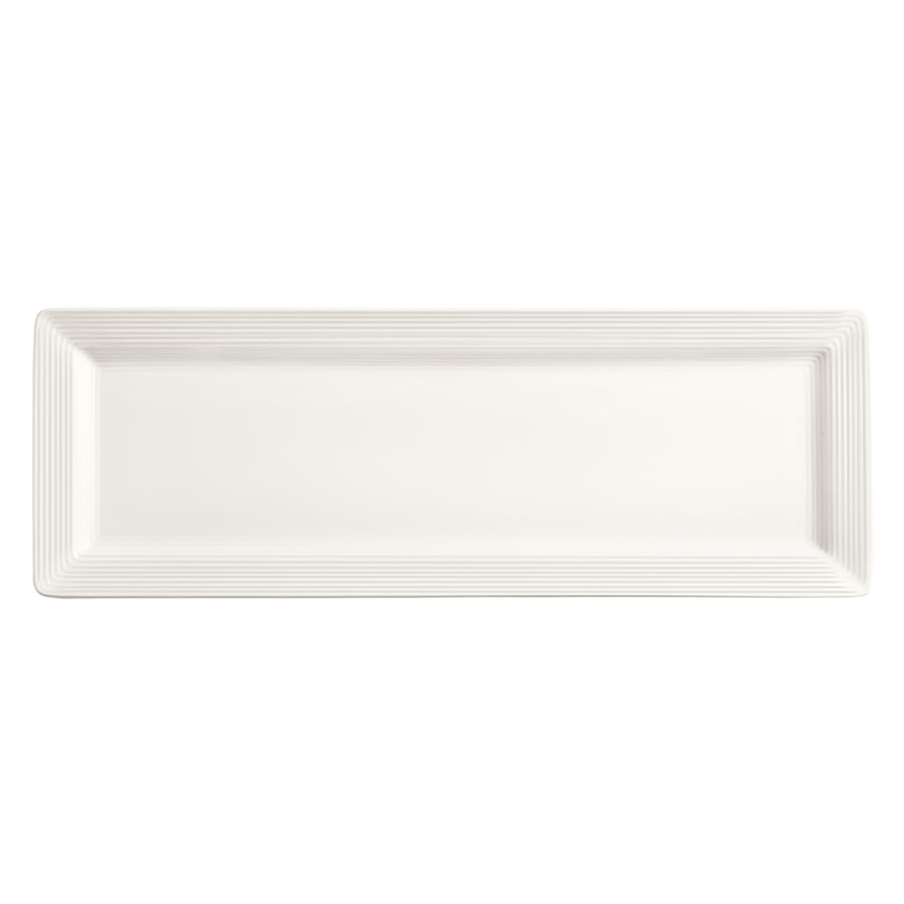 "World Tableware SL-26S Rectangular Slate Select Platter - 12"" x 8"", Porcelain, Ultra Bright White"