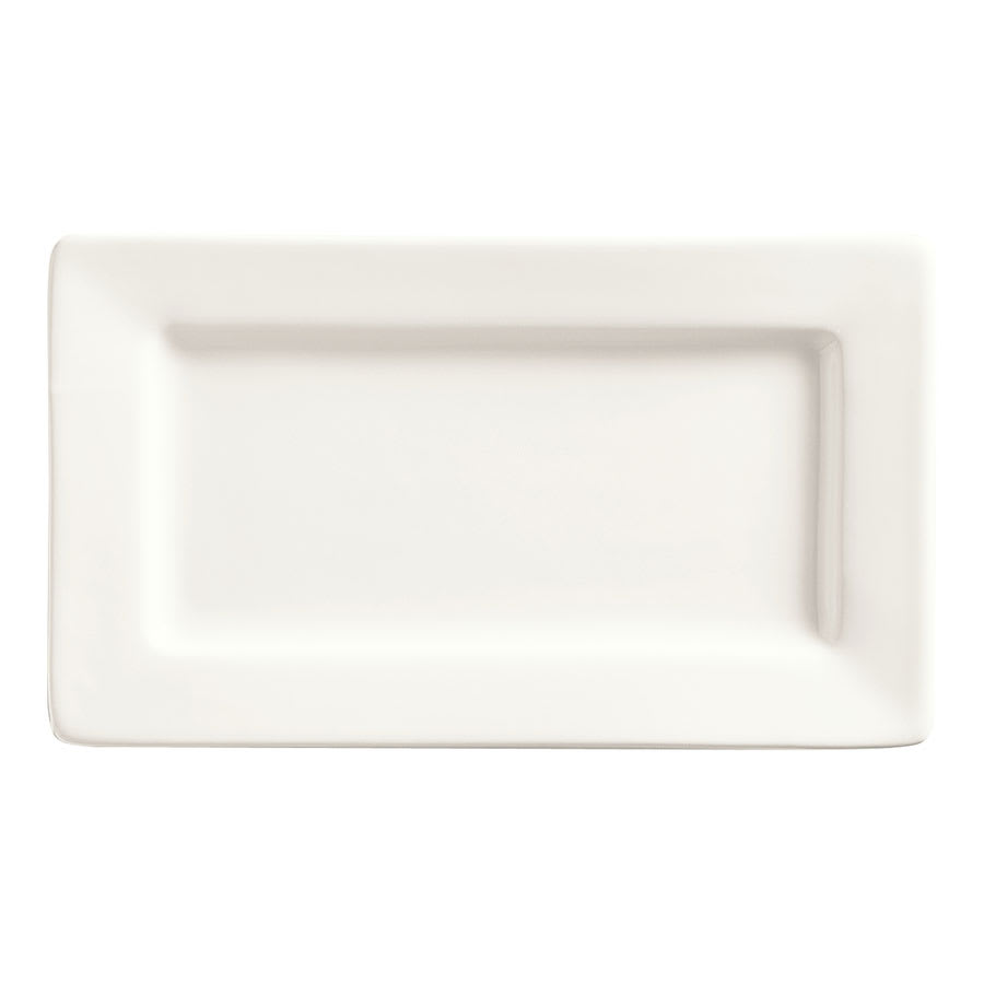 "World Tableware SL-33 Rectangular Porcelain Plate, 7.5x4.5"", White, Slate"
