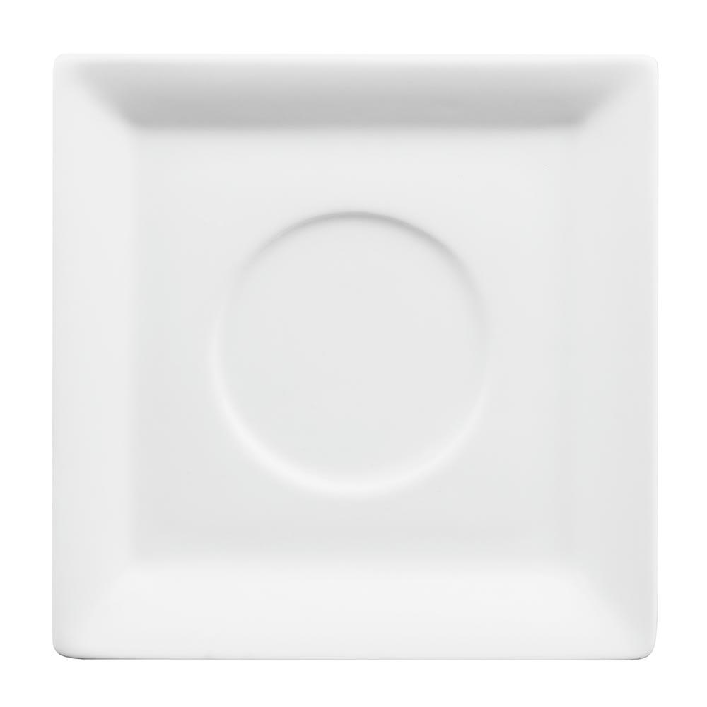 "World Tableware SL-61 4.25"" Square Espresso Saucer - Porcelain, White"