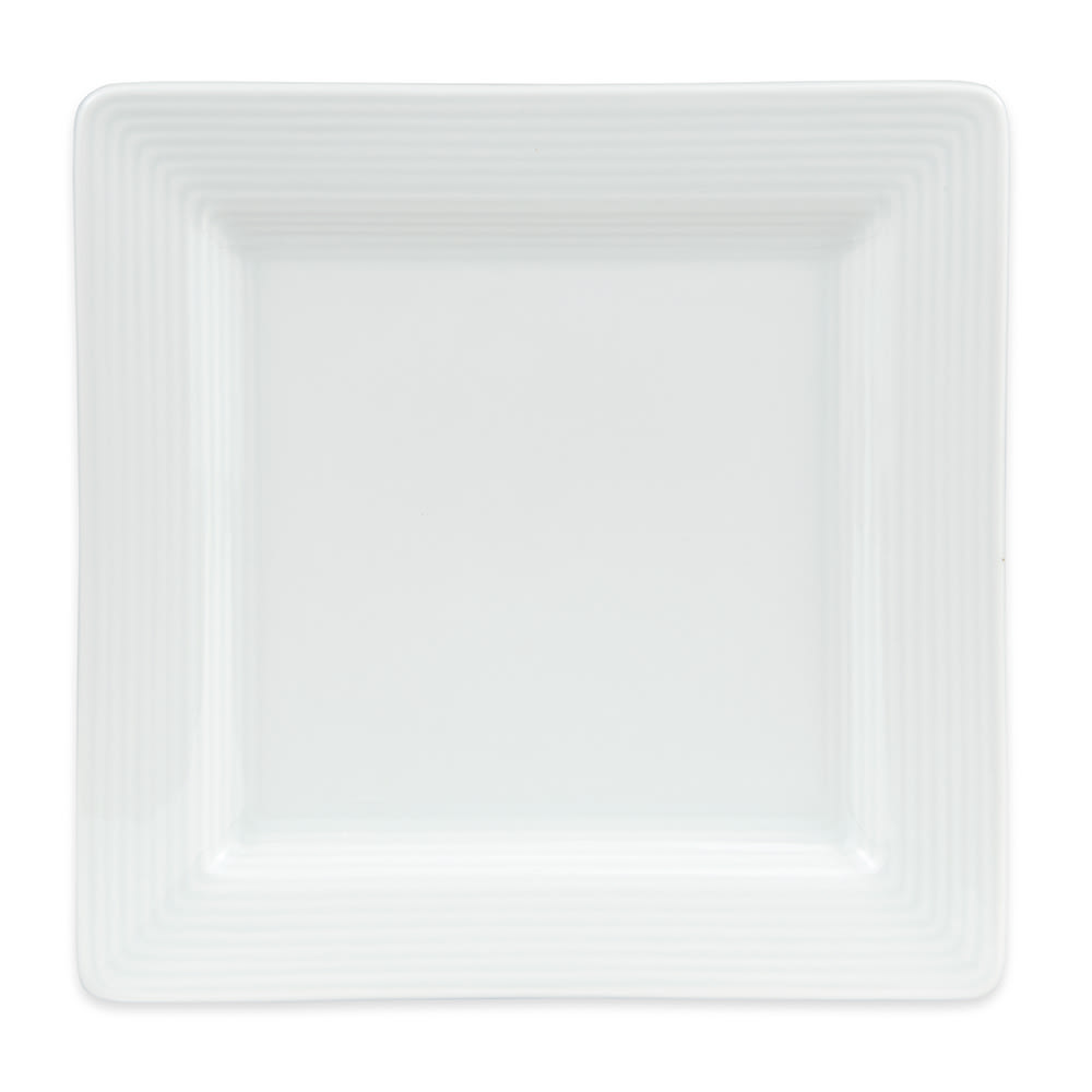 "World Tableware SL-6S 6 1/4"" Square Plate - Porcelain, Ultra Bright White, Slate Select"