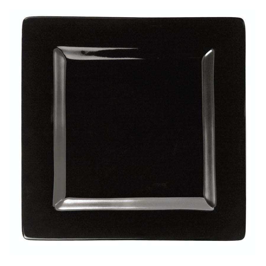 "World Tableware SL-9-B 9"" Square Porcelain Plate, Black, Slate"