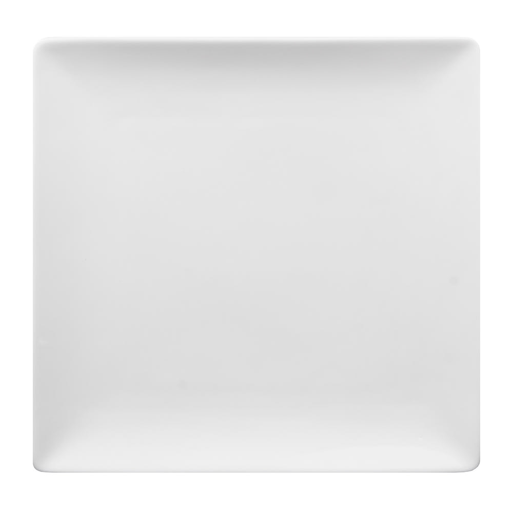 "World Tableware SL-9C 9 1/2"" Slate Square Coupe Plate -  Ultra Bright White, Porcelana"