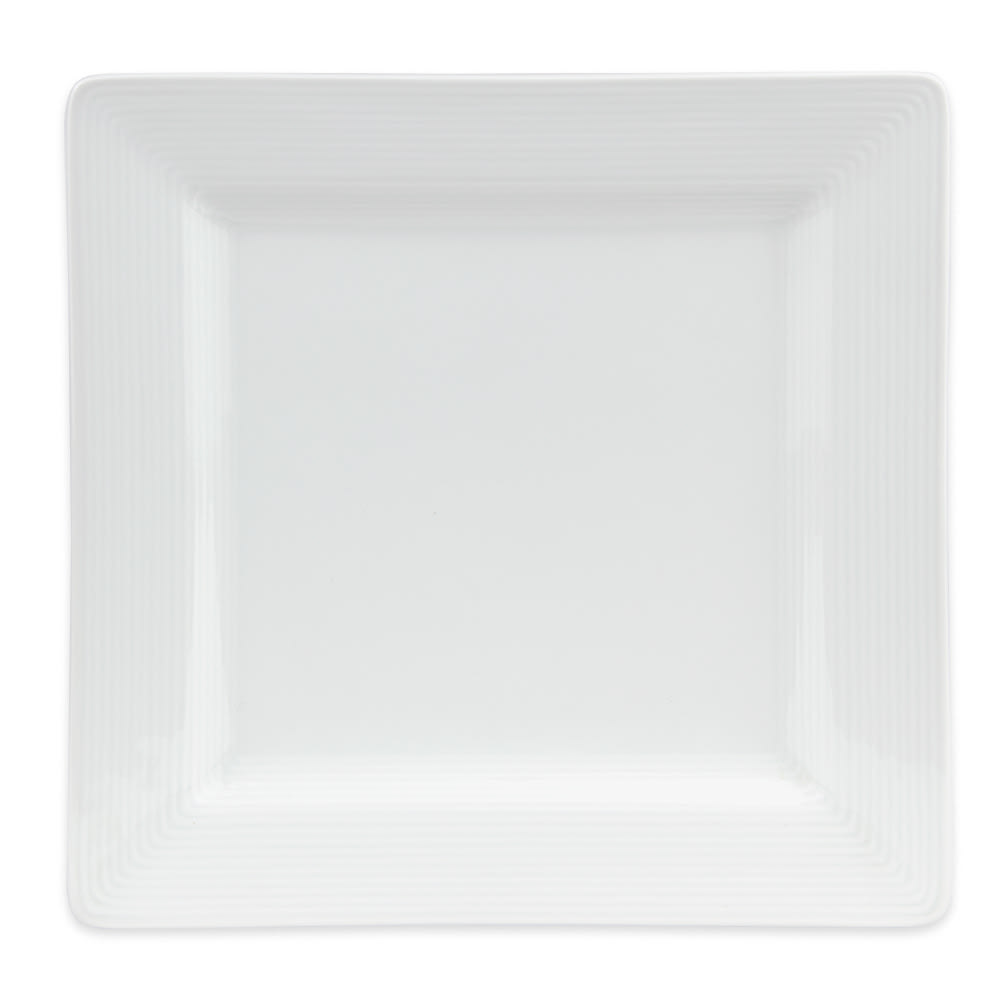 "World Tableware SL-9S 9"" Porcelana Square Plate - Porcelain, Ultra Bright White, Slate"