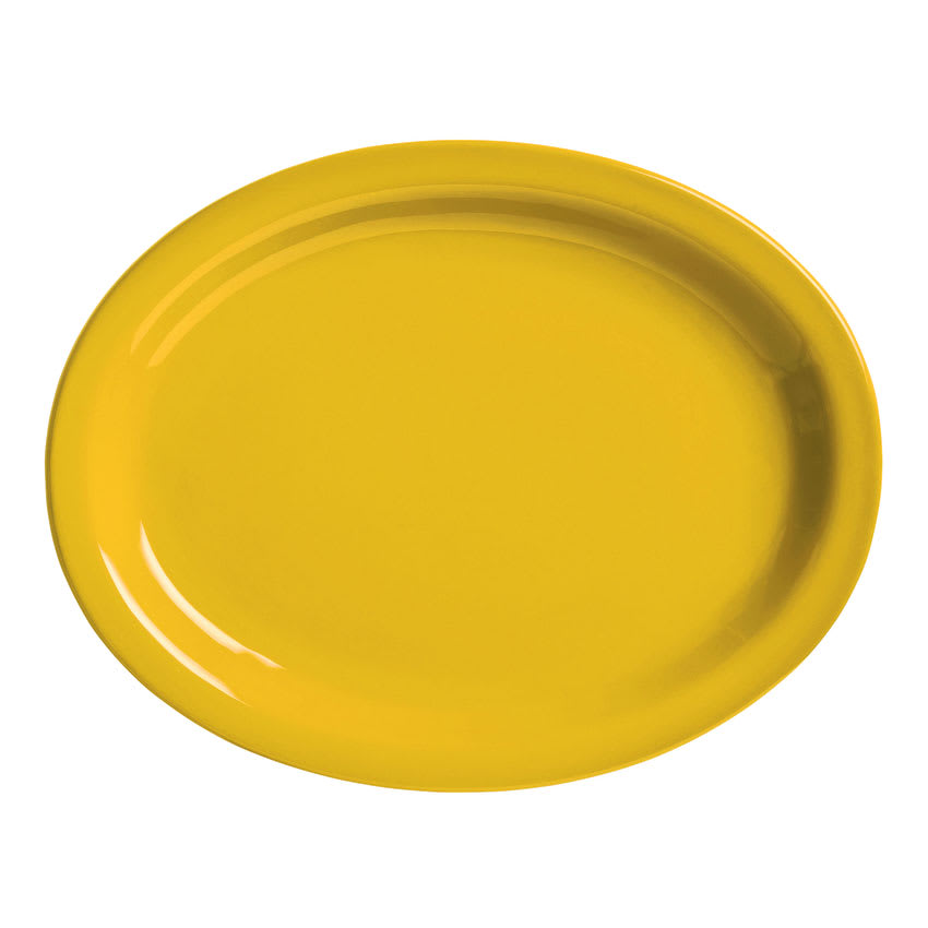 "World Tableware VCM-13 Oval Veracruz Platter - 11.5"" x 9.38"", Ceramic, Marigold Yellow"