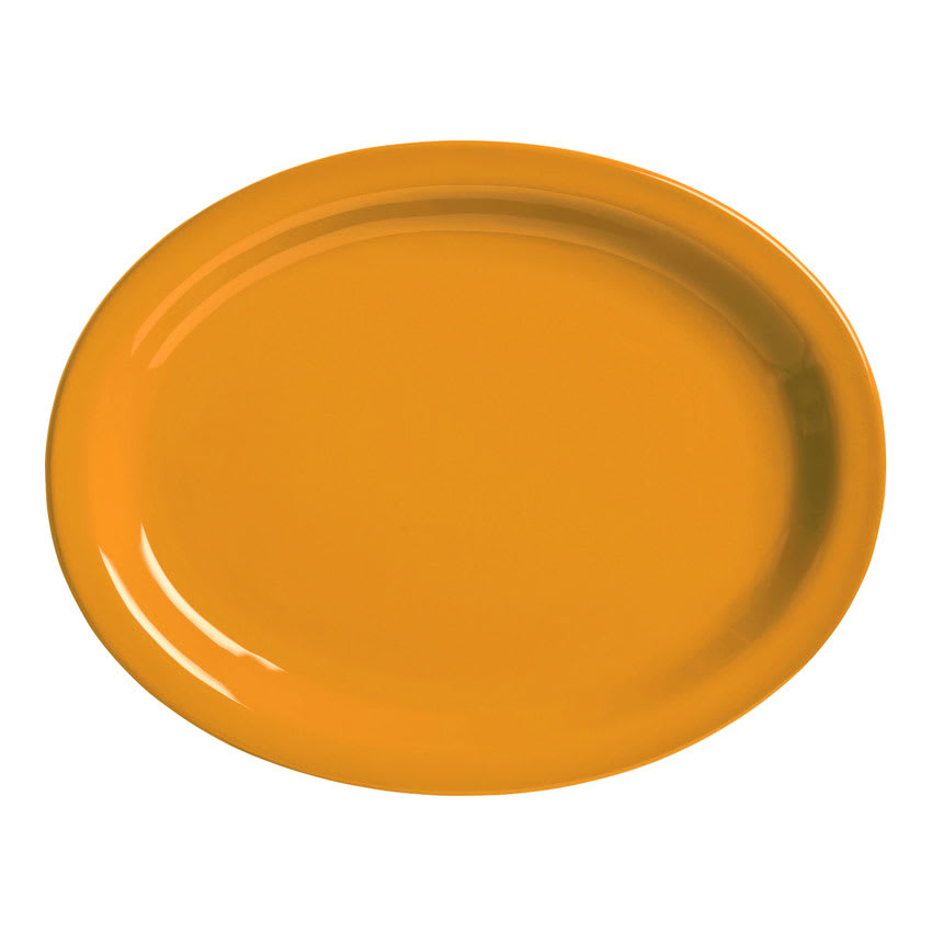 "World Tableware VCO-14 Oval Veracruz Platter - 13.25"" x 10.13"", Ceramic, Cantaloupe Orange"