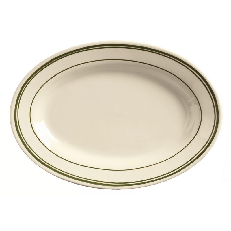 World Tableware VIC-13 Viceroy Platter - Plain, (3) Green Bands