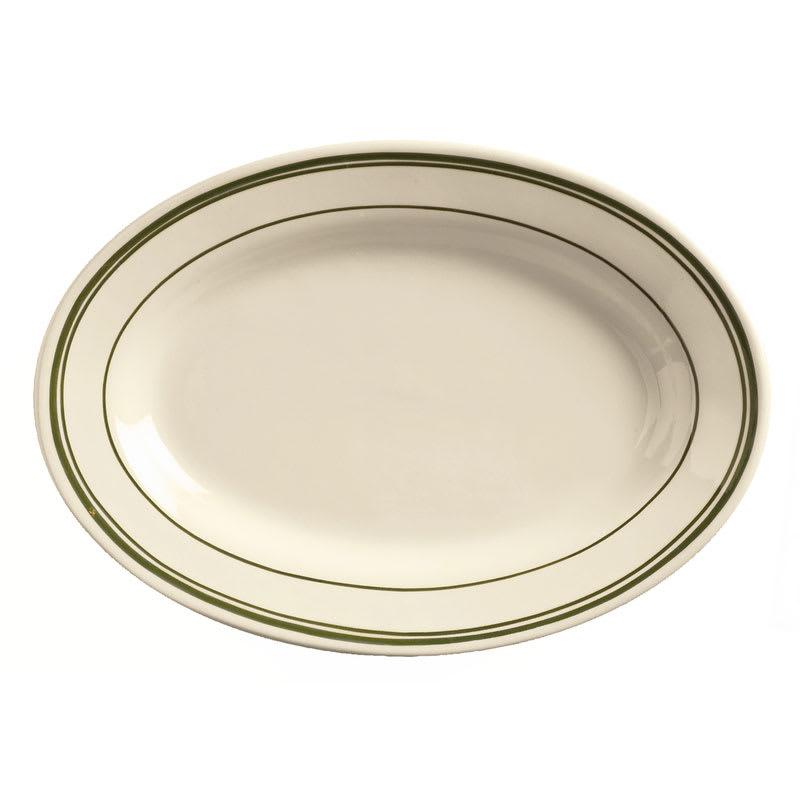 World Tableware VIC-14 Viceroy Platter - Plain, (3) Green Bands